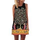 Womens Printed Racerback Vest Mini Dress Kanpola Clearance Ladies Loose Summer Beach Sleeveless 3D Vintage Digital Floral Print Boho Round Collar Short Dresses