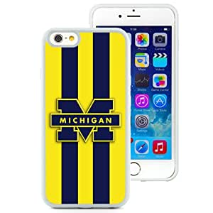 Fashionable And Unique Custom Designed With Ncaa Big Ten Conference Football Michigan Wolverines 2 Protective Cell Phone Hardshell Cover Case For iPhone 6 4.7 Inch TPU Phone Case White