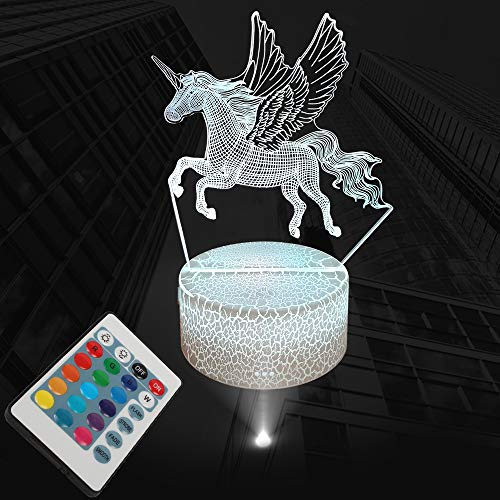 Night Lights for Kids, 3D Unicorn Bedside Lamp, LED Optical Illusion Light 7 Color Changing with Remote Control for Baby Kid Nursery Home Décor Birthday Gifts