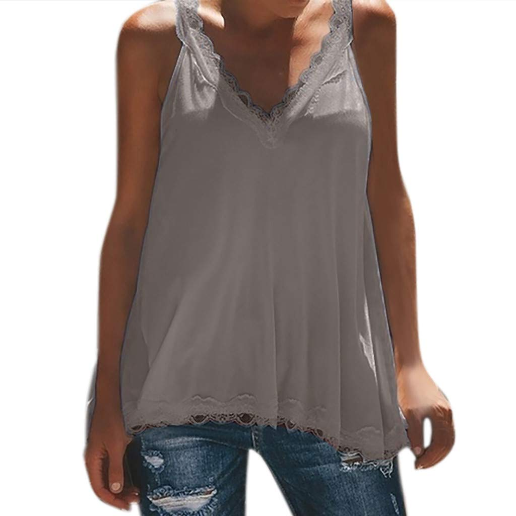 LUCA Womens Summer Casual Sleeveless Tops Lace V-Neck Shirts Tank Tops(Gray,L)