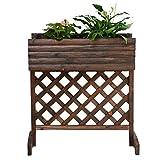 Carbonized Solid Wood Flower Pots Outdoor Balcony Grid Flower Rack, 74 * 35 * 81CM