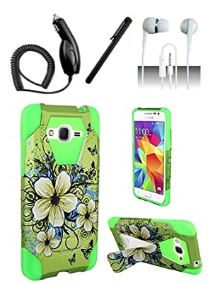 4 Items Combo For ZTE Zephyr Z752c / ZTE Paragon Z753G / ZTE Sonata 2 Purple Silver Vines 2D Design Hard Case Snap On Protector Cover + Car Charger + Free Stylus Pen + Free 3.5mm Stereo Earphone Headsets from Shoparound168