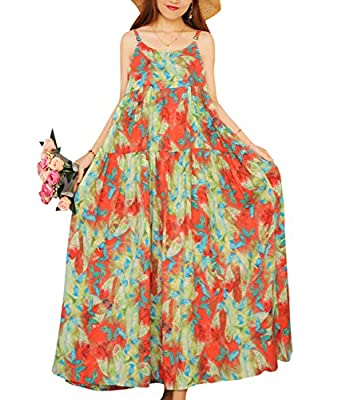YESNO E00 Women Casual Loose Bohemian Floral Print Empire Waist Spaghetti Strap Long Maxi Summer Beach Swing Dress