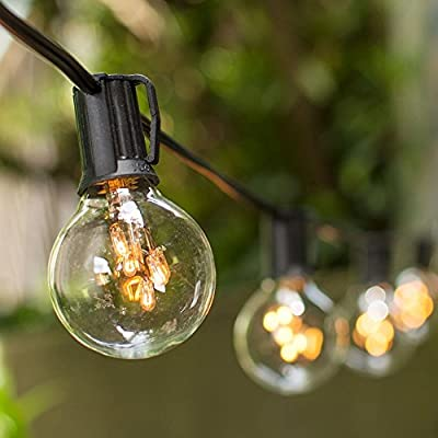 Globe String Lights, 2 in. Rice Light Bulbs, 50 ft. Black Wire, Clear