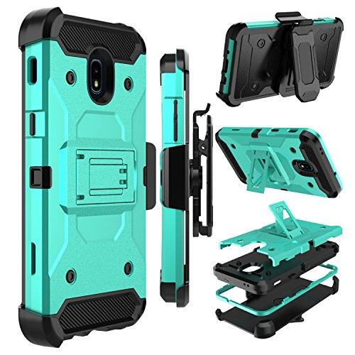 Galaxy J7 2018 Case, Galaxy J7 Refine Case, Zenic Heavy Duty Shockproof Hybrid Full-Body Protection Case with Swivel Belt Clip and Kickstand for Galaxy J7 Aero / J7 Aura / J7 Star / J7 Eon (Green)