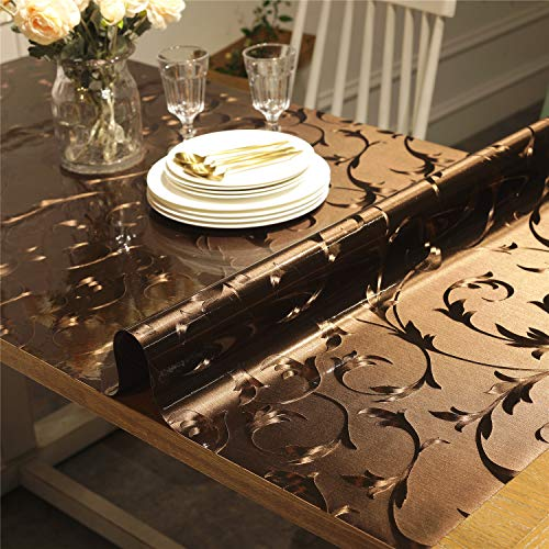 OstepDecor Custom Brown Dining Room Table Protector - 60 x 42 Inch Plastic Protective Table Pad Kitchen Wood Grain Vinyl Table Cover