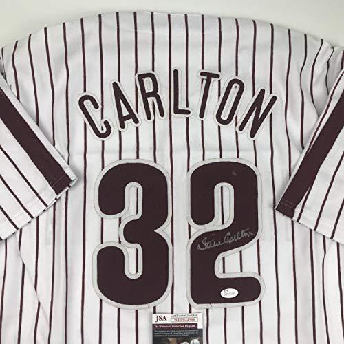 Autographed/Signed Steve Carlton Philadelphia Pinstripe Baseball Jersey JSA COA