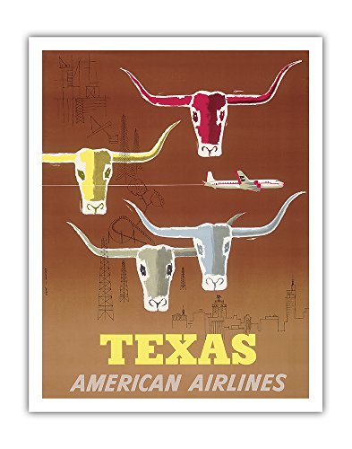 Pacifica Island Art Texas - Longhorns - American Airlines - Vintage Airline Travel Poster by Joseph Charles Parker c.1953 - Fine Art Print - 11in x 14in