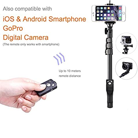 Bluetooth Selfie Stick for Cellphone, Monopod Tripod Stand, 3 Fixed Clips Adjustable Full Range From 7.68