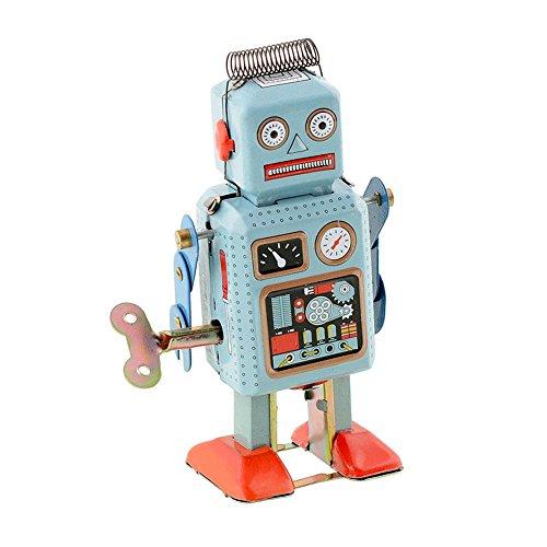 Peradix Vintage Blechspielzeug Uhrwerk Roboter Graugrün zum Aufziehen