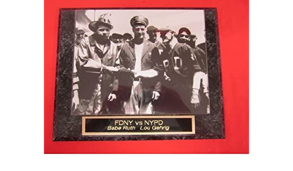 c5df41892 Amazon.com: Yankees Babe Ruth Lou Gehrig Collector Plaque w/8x10 Vintage  Photo FDNY vs NYPD Charity Game: Sports & Outdoors