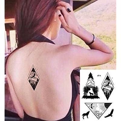 Lignes Tatouages Tatouages graphique Wolf adlerberg Forêt Noir Faux tatouages J510