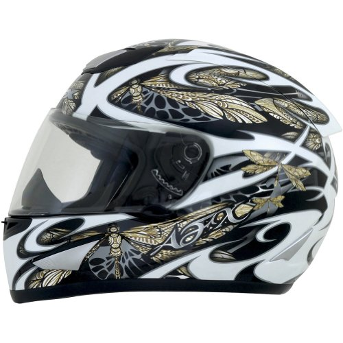 AFX Dragon Fly Adult FX-95 Street Racing Motorcycle Helmet - White/Gold/Silver / Medium