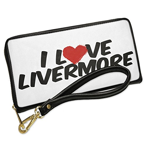 Wallet Clutch I Love Livermore with Removable Wristlet Strap Neonblond