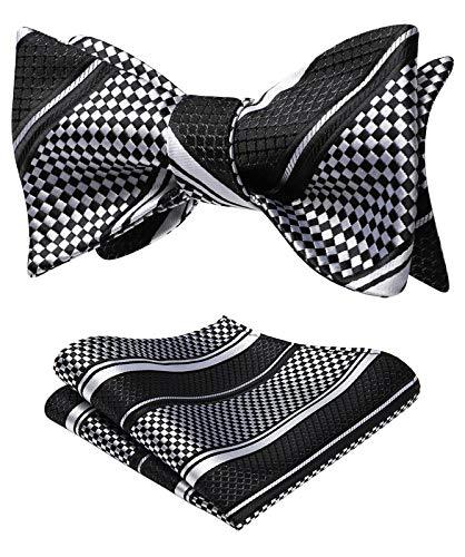 HISDERN Men's Check Plaid Bowtie Formal Tuxedo Self Tie Bow Tie and Pocket Square Set Black