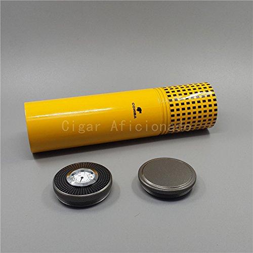 GreenSun(TM) Classic Gadgets Aluminium Alloy Travel Cigar Tube Portable Jar Outdoor Cigar Humidor W Humidifier Hygrometer Flocking Bag