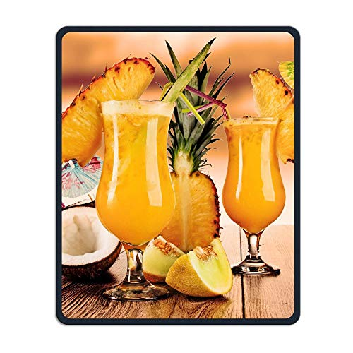 Mouse Pad Cocktail with Pineapple Coconut Rectangle Rubber Mousepad Length 8.66 Width 7.09 Inch Gaming Mouse Pad with Black Lock Edge for $<!--$8.88-->