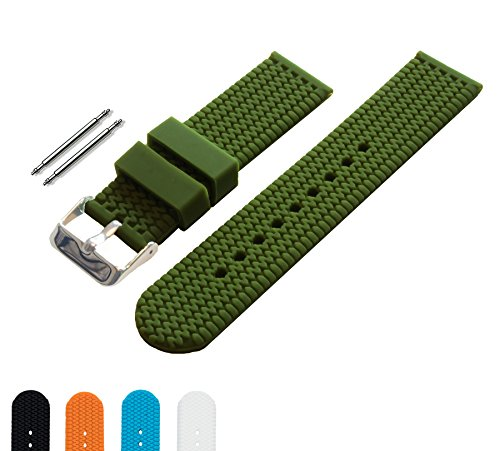 BARTON Watch Bands - Choice of Colors & Widths (18mm, 20mm, 22mm or 24mm) - Olive Green 18mm - Soft Silicone