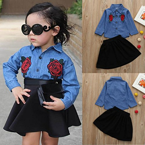 Wool Top & Striped Skirt - Kids Girls Skirts Denim Shirts,Hemlock Girls Tops Skirt Dress Outfit Turndown Collar Shirts (2T, Blue)