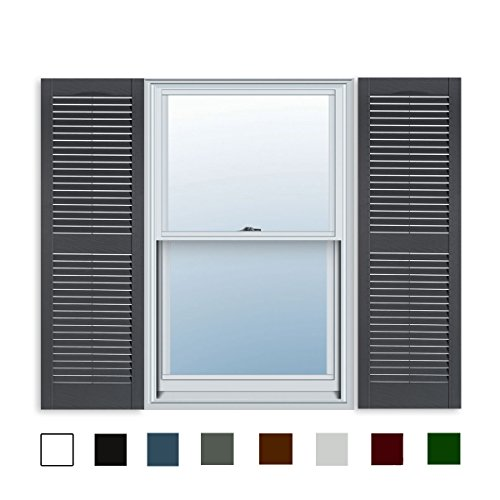 15 Inch x 71 Inch Standard Louver Exterior Vinyl Window Shutters, Dark Gray (Pair)