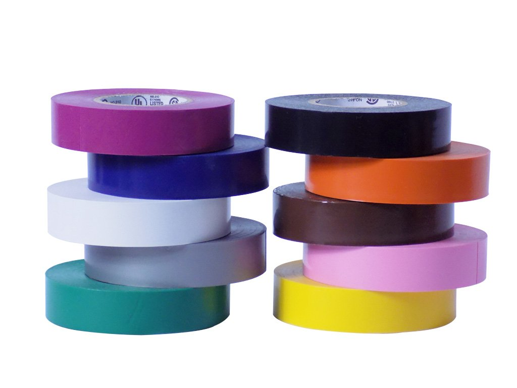 WOD EL-766AW Professional Grade General Purpose Rainbow Electrical Tape UL/CSA listed core. Utility Vinyl Rubber Adhesive Electrical Tape: 3/4in. X 66ft. - Use At No More Than 600V & 176F (Pack of 10)