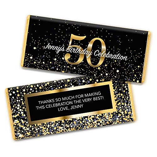 Milestone 50th Birthday Favors Personalized Chocolate Bar Wrappers (25 Count) ()
