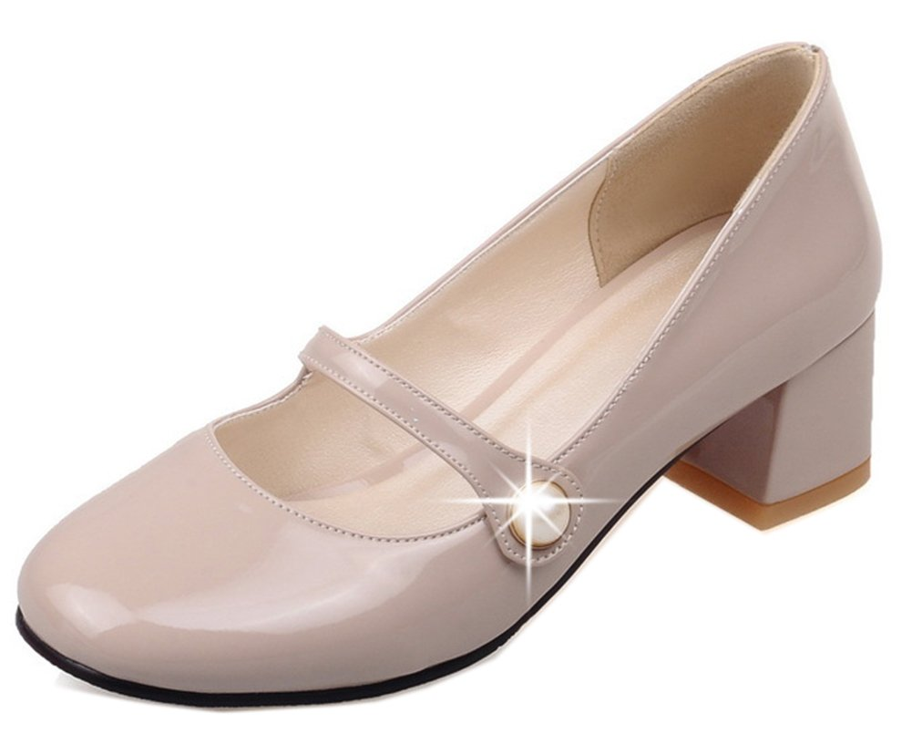 Easemax Femme 19103 Simple Slip Mary on Talon Bride Chunky Bride Cheville Mary Janes Abricot c5cf79e - fast-weightloss-diet.space