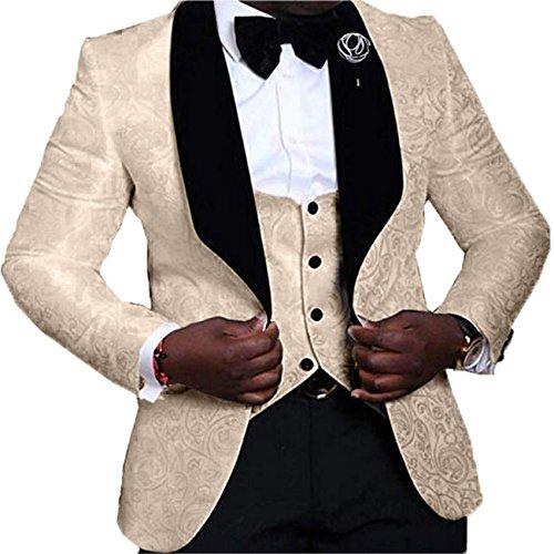 YSMO Men's Jacquard 3-Piece Suit Slim One Button Tuxedo Blazer Jacket Pants Vest Set by YSMO