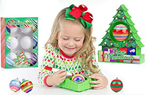TreeMendous Christmas Tree Ornament Decorating Kit for Kids ages 6+ | Includes 9 Ornaments | Top Rated Craft Activity Game, Holiday Toy DIY Ornament Maker |Ornament Base Kit & Refill ()
