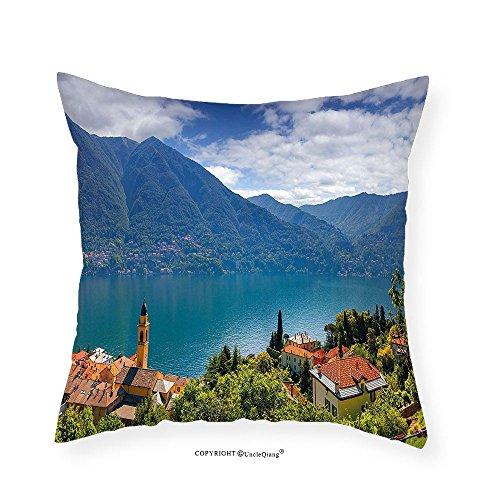 VROSELV Custom Cotton Linen Pillowcase Modern Mountain Village on the Hills Como Lake Italian Town European Mediterranean Scenery for Bedroom Living Room Dorm Multicolor - Italian Hill Camp