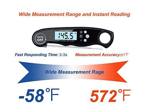 Digital Grill Thermometer,Digital Cooking Thermometer, Instant Read Meat Thermometer With Long Probe,waterproof, Calibration Function For Kitchen BBQ Grill Smoker Cooking Outdoor, Black … by INNOMAX (Image #2)'