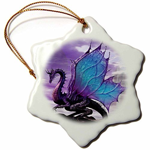 Ornaments to Paint Fairytale Dragon Snowflake Porcelain Ornament, 3-Inch]()
