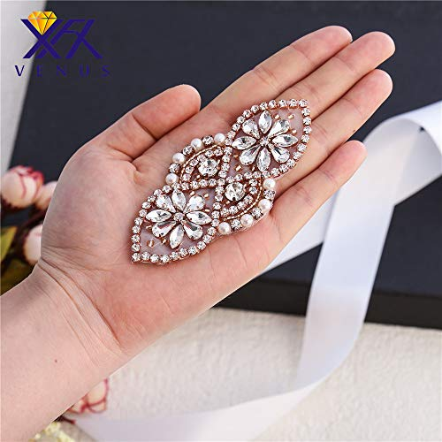 - Rose Gold Wedding Applique Bridal Shoes Garters Headpieces Applique Sewn Iron on for Sash Crystal Belt Rhinestone Pearls Beaded Formal Gown Dress Applique (Rose Gold-3)