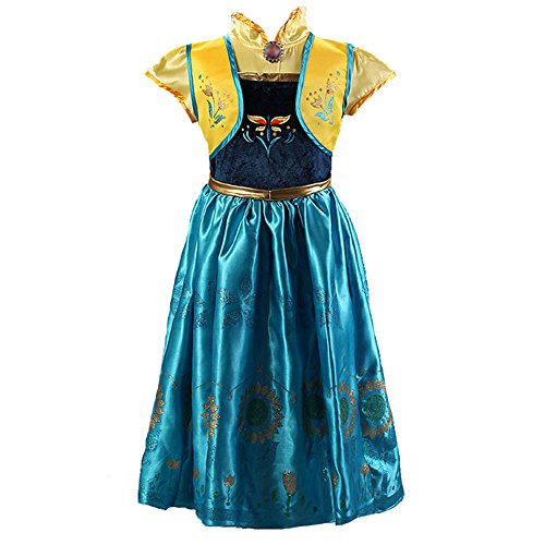 Z.D Girls Princess Dress Anna Traveling Classic Costume Dresses, Blue, Size 130(US 4),,Sky Blue,130(US 4)