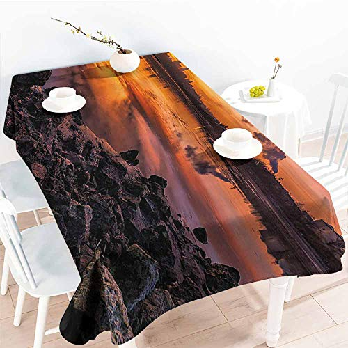 Homrkey Waterproof Tablecloth Landscape USA Missouri Kansas City Scenery of a Sunset Lake Nature Camping Themed Art Photo Multicolor Party W70 xL84 -