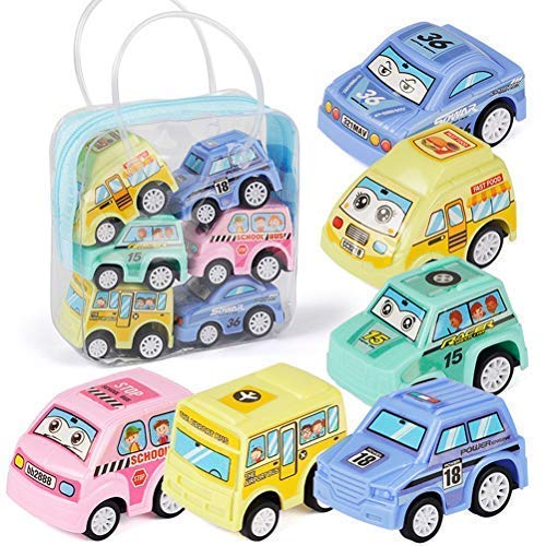 YIMORE Pull Back and Go Vehicle Mini Cars Colourful Bus Toy Set with Handle Bag for Kids Boys Cake Decoration,6 Pack RONG XING ALLOY TOYS FACTORY