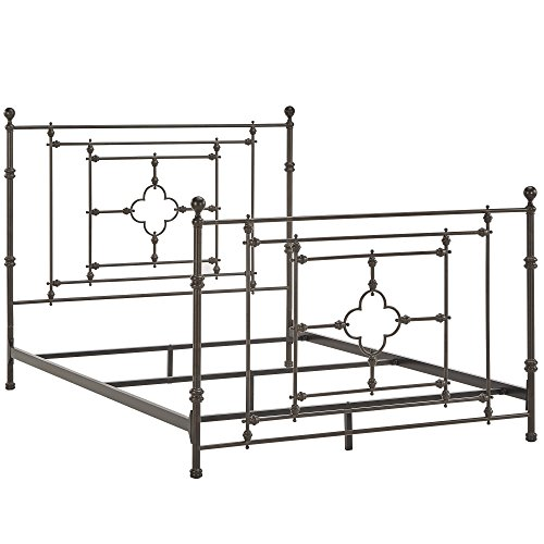 Country Antique Beautiful Bedroom Iron Metal Bed in Dark Brown Finish with Footboard and Headboard, Multiple Sizes (Country Full Size Headboard)