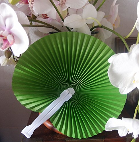 "Quasimoon 9"" Green Chinese Folding Accordion Paper Hand Fan for Weddings (10 Pack) by PaperLanternStore"