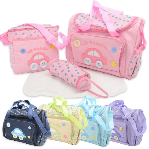 4piezas Cute As A Button–Bolsa para pañales y cambiador de pañales para bebé 4pcs Set–incluyendo el cambio Mat rosa pastel rosa pastel