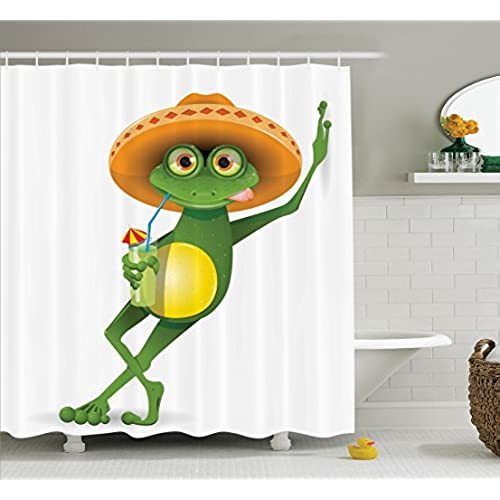 Superbe Ambesonne Cartoon Decor Collection, Frog In A Sombrero And A Cocktail Drink  Glass Fauna Hot Weather Holiday Enjoying Image, Polyester Fabric Bathroom  Shower ...
