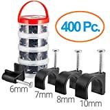 Maximm Premium Cable Clips, 400 pcs. Black Color - 100 ea. 6mm, 7mm, 8mm and 10mm with Steel Nails - for All Cat5, Cat6, Cat7, RG6 Coaxial, HDMI & Speaker Cables