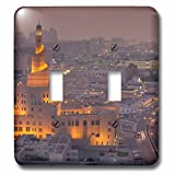 3dRose Danita Delimont - Cities - Qatar, Doha, FANAR, Qatar Islamic Cultural Center, elevated view, dusk - Light Switch Covers - double toggle switch (lsp_257255_2)