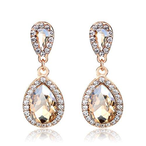 YiYi Operation Champagne Topaz Crystal Rhinestone Rose Gold Plated Drop Dangle Earrings Bridal Engagement