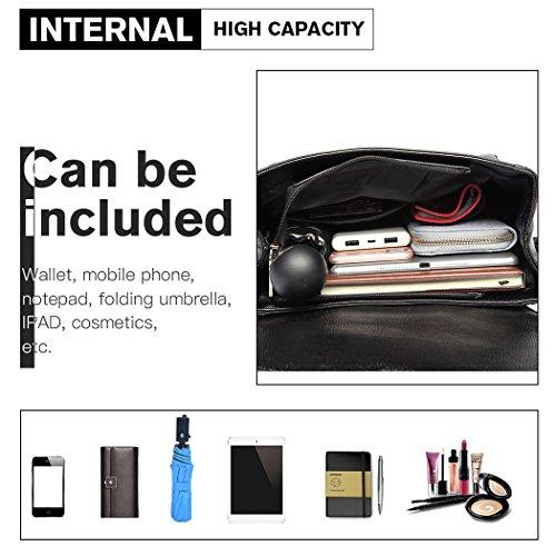 Black Soft Design Leather Casual Backpack Miss Pu Backpack Rivet Girls Lulu Brand Fashion Daypack Zipper School for gq0wa0FB