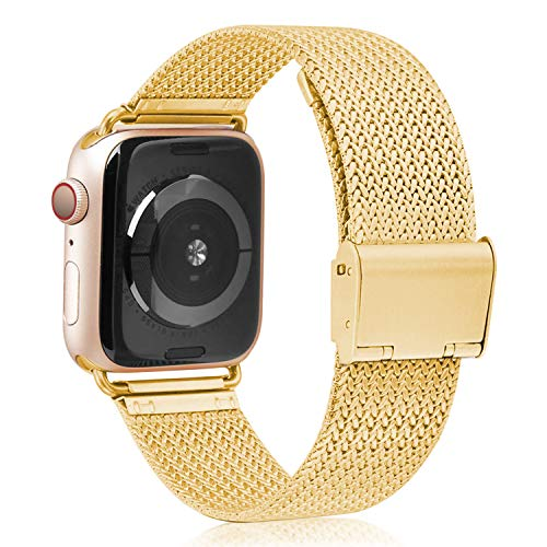 (VATI Compatible with Apple Watch Band 38mm 40mm, Stainless Steel Mesh Loop Sport Wristband with Adjustable Magnetic Closure Replacement Band Compatible with iWatch Series 4/3/ 2/1, Yellow Gold)