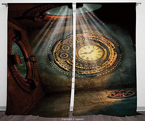 Clock Neon Raiders Oakland - Rod Pocket Curtain Panel Polyester Translucent Curtains for Bedroom Living Room Dorm Kitchen Cafe/2 Curtain Panels/108 x 108 Inch/Fantasy House Decor,Fantasy Scene With clock dream Sky From The Ceilin