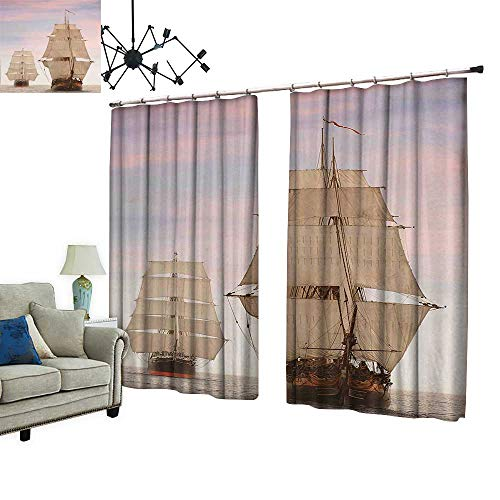 - PRUNUS Decorative Curtains has Hook Gaff Top Sail Tall Wooden Sailing Ships Waves Art Print Photo Cream and Machine Washable for Easy Care,W120 xL72