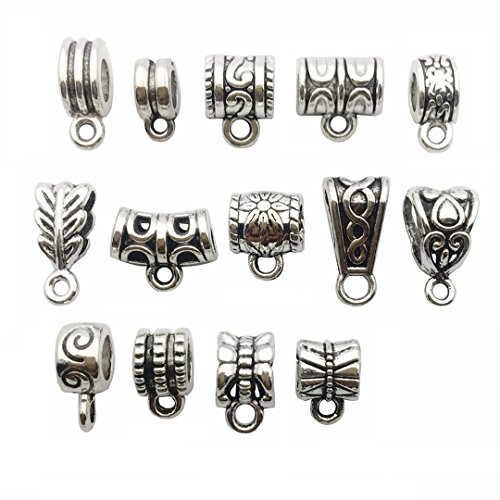 Silver Charm Loop - 122 PCS Bail Beads Charms Collection - Hole Short Side Size: 4-7mm - Mixed Antique Silver Bail Beads Round Connector with Loop Barrel Curved Hole Tube Spacer for European Bracelet Necklace (HM79)