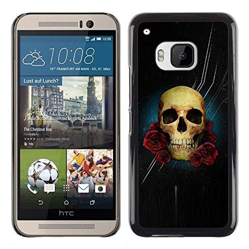 All Phone Most Case / Hard PC Metal piece Shell Slim Cover Protective Case for HTC One M9 Stars Night Black Rose Skull Flowers
