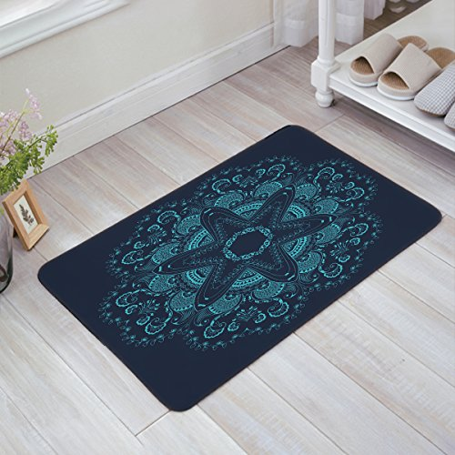 All Weather Damask Rug (indoor/Outdoor Industrial, Mat Easy Clean Entry Way Doormat For Patio, Front Door, All Weather, Exterior Doors,23.6 x15.7inch -round lace with damask and arabesque)